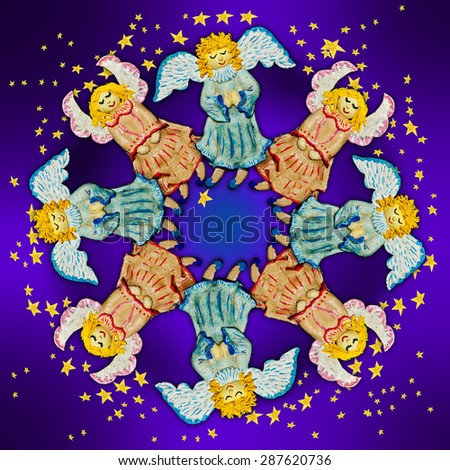 Angels.Figures of angels with wings on a  purple background.Ornamental compositions. - stock photo