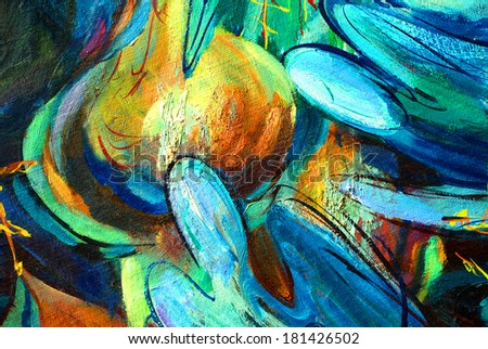 angels , painting by oil on canvas,  illustration - stock photo