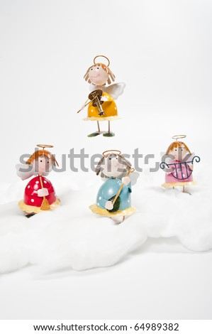 Angels play music instruments - stock photo