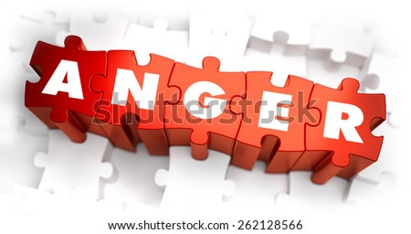 Anger - Text on Red Puzzles with White Background and Selective Focus. - stock photo