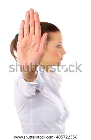 Anger woman signaling stop sign , isolated on white background