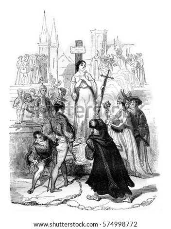 Angers museum, Death of Joan of Arc, by Eugene Deveria, vintage engraved illustration. Magasin Pittoresque 1842.
