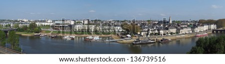 Angers panoramic view of the north Maine riverbank - stock photo