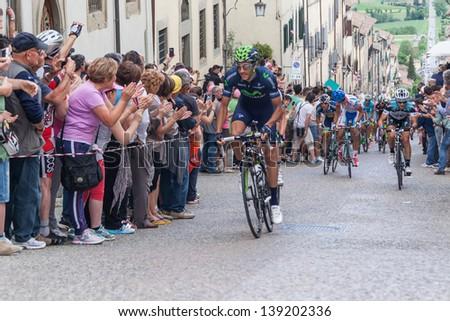ANGHIARI, ITALY - MAY 12: Eros Capecchi, Team Movistar, during the 9th stage of 2013 Giro d'Italia on May 12, 2013 in Anghiari, Italy - stock photo