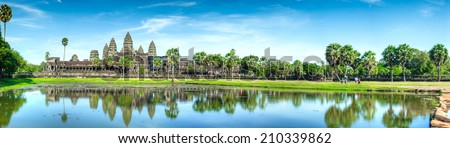 Angkor wat, Cambodia in panorama view - stock photo