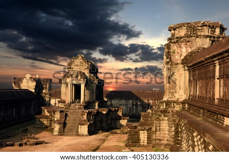 Angkor Wat Capital Temple, Khmer temple in Cambodia at sunset - stock photo