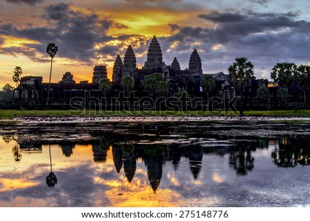 Angkor Wat during sunrise  - stock photo