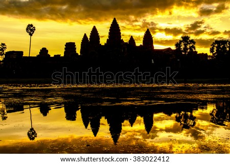 Angkor Wat in Cambodia during sunrise - stock photo