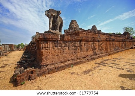 angkor wat ruin with elephant sculpture - stock photo