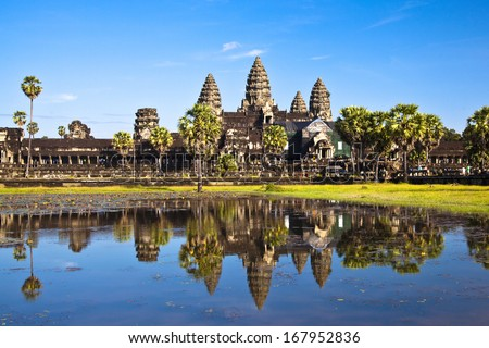 Angkor Wat seen across the lake - stock photo