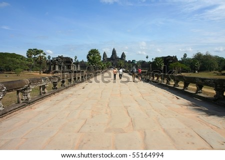 Angkor wat seen from the front - stock photo