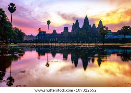 Angkor Wat sunrise at Siem Reap. Cambodia - stock photo