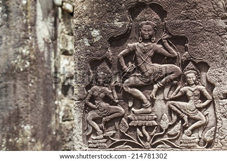 Angkor Wat. The frescoes on the walls.  Cambodia. Siem Reap - stock photo