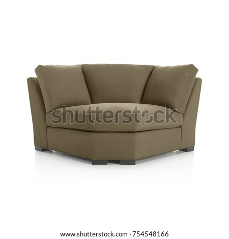 Angle Armchair, Angle Brown Sofa, Isolated, Furniture