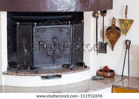 Angle chimney living room - stock photo