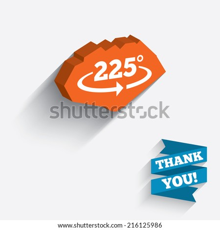 Angle 225 degrees sign icon. Geometry math symbol. White icon on orange 3D piece of wall. Carved in stone with long flat shadow.