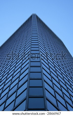 Angle view of a glass-windowed skyscraper