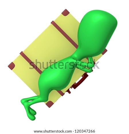 Angle view puppet sleeping calmly on big suitcase - stock photo