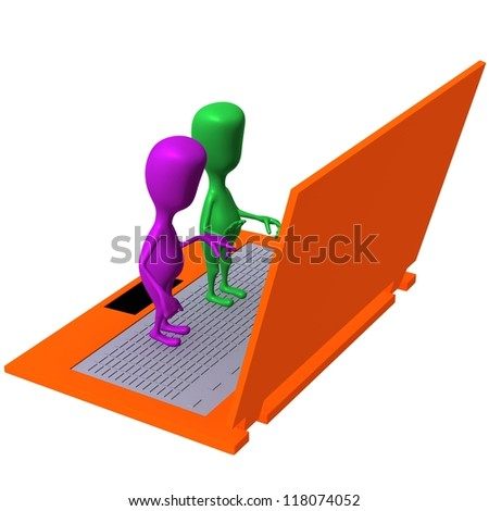 Angle view puppet standing on enormous size laptop