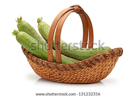 Angled Gourd on white background - stock photo