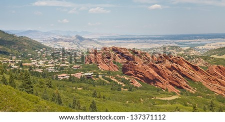 Angled sandstone cliffs in Roxborough State Park near Denver, Colorado. - stock photo