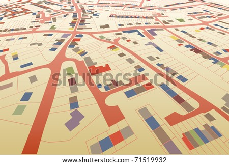 Angled view of a colorful illustrated housing map in a generic town - stock photo