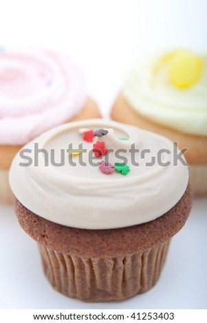 Angled view of cupcakes - stock photo