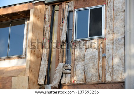 Angled view two windows under construction - stock photo