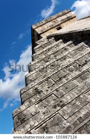 Angled view up the Mayan step pyramid Kukulkan at Chichen Itza, Yucatan, Mexico. - stock photo