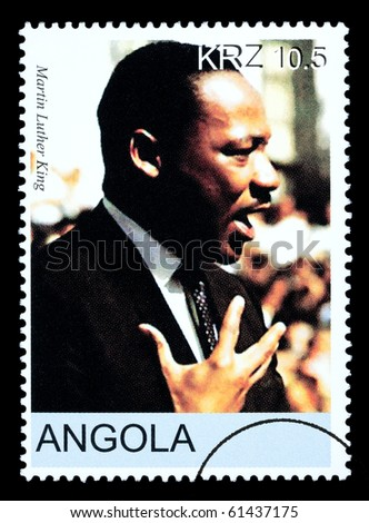 ANGOLA - CIRCA 2005: A postage stamp printed in Angola showing Martin Luther King, circa 2005 - stock photo