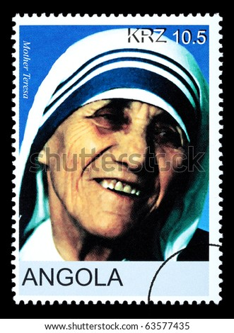 ANGOLA - CIRCA 2005: A postage stamp printed in Angola showing Mother Teresa, circa 2005 - stock photo