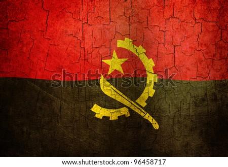 Angolan flag on a cracked grunge background - stock photo