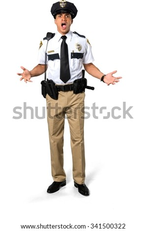 Angry African young man with short black hair in uniform talking with hands - Isolated - stock photo