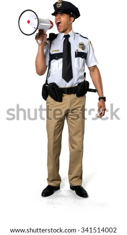 Angry African young man with short black hair in uniform using megaphone - Isolated - stock photo