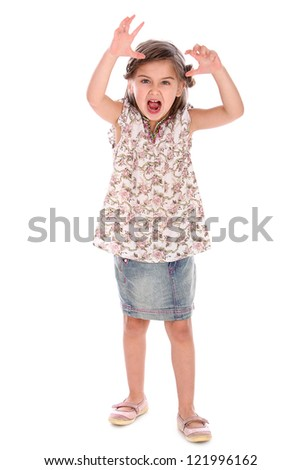 Angry and cute little girl in studiol isolated on a white background
