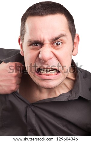 Angry and destructive young businessman - stock photo
