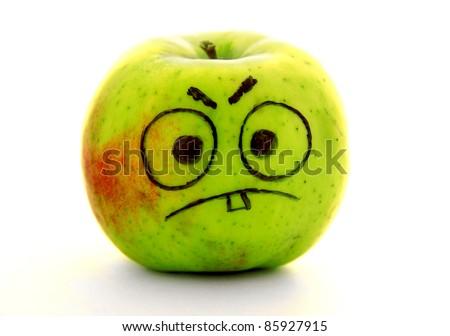 Angry apple - stock photo