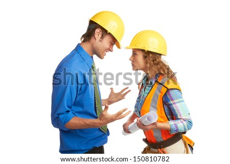 Angry Architect And Construction Worker isolated on white. Horizontal Shot.