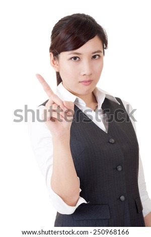 Angry Asian business woman warning you, closeup portrait on white background. - stock photo
