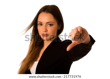 Angry asian caucasian business woman showing thumb down isolated - stock photo