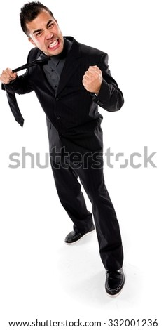 Angry Asian man with short black hair in business formal outfit holding prop - Isolated