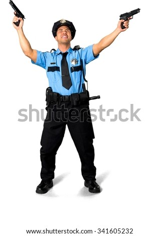 Angry Asian man with short black hair in uniform using handgun - Isolated - stock photo
