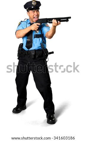 Angry Asian man with short black hair in uniform using shotgun - Isolated