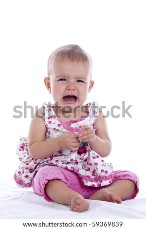 angry baby screaming, studio shot on white background - stock photo