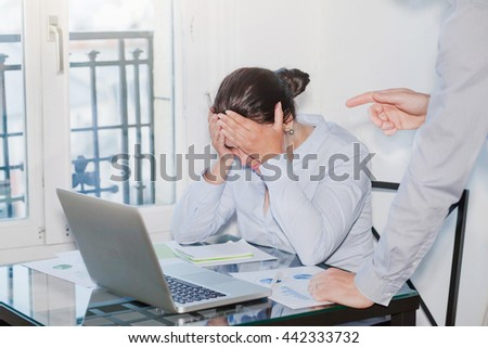 angry boss and stressed employee in the office, punishment - stock photo