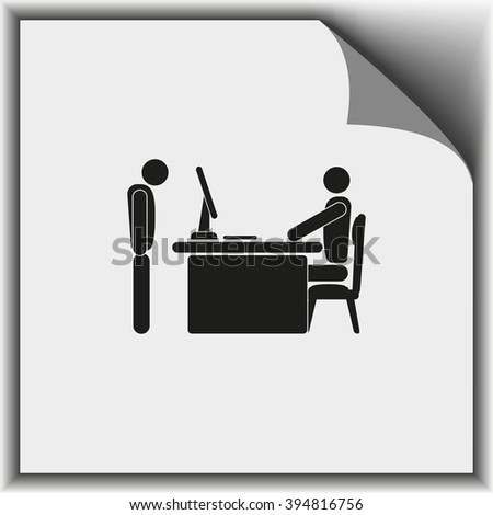 Angry boss with employee. Flat icon. - stock photo