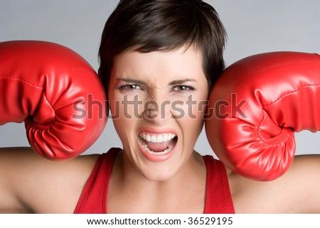 Angry Boxer - stock photo