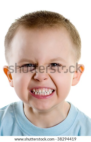 Angry  boy isolated on the white background - stock photo