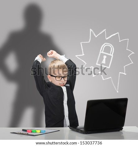 Angry boy with laptop which was closed by parental control system and the parent silhouette on background. Access denied.