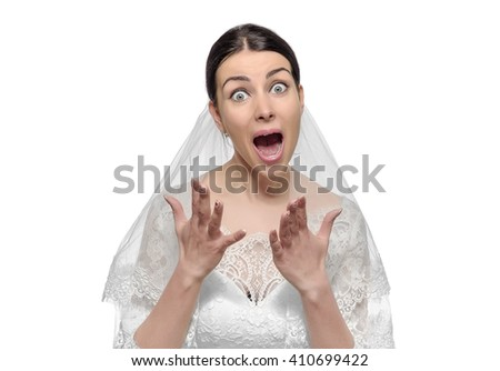 Angry bride screaming. Isolated on white background. - stock photo